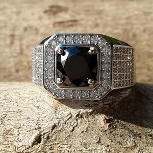 Other - Mens Black & White Silvertone Ring size 12 3/$30